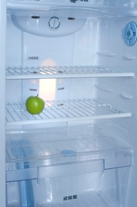 Interior of a fridge with a green apple